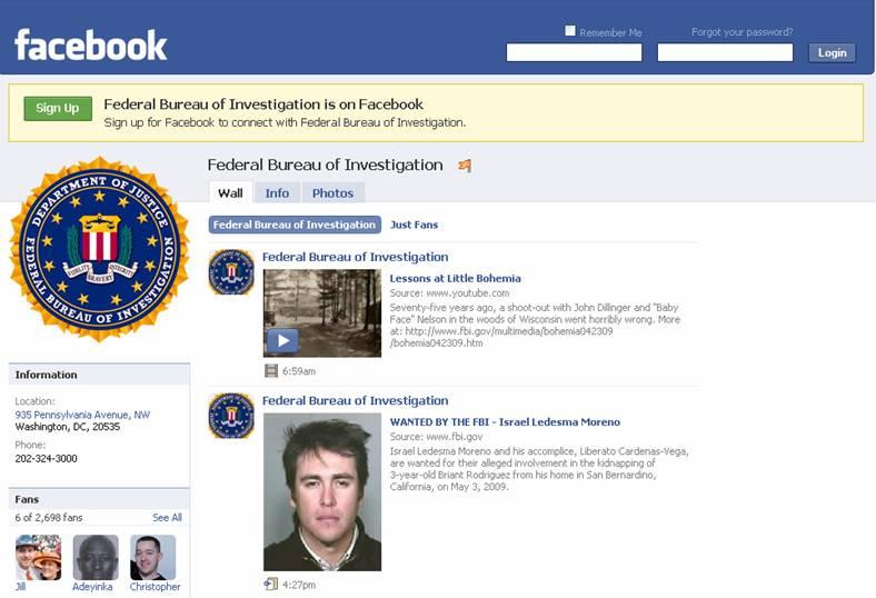 FBI's facebook page